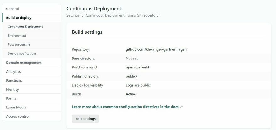 Screenshot, setting up continous deployment in Netlify