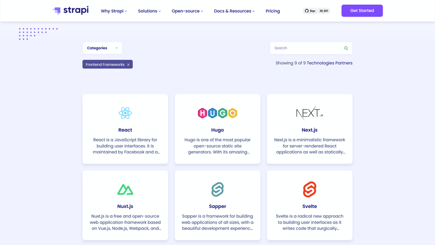 Front-end tools on integrations page