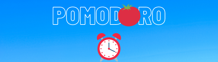 A banner showcasing the world pomodoro with a tomato and an alarm clock