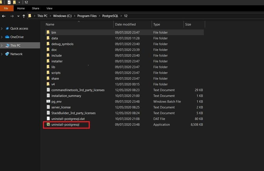 PostgreSQL directory in local storage