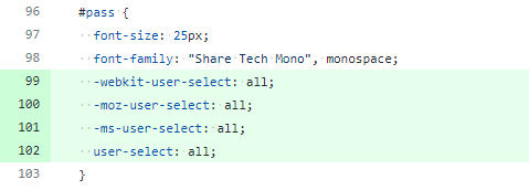 Add user-select CSS to #pass