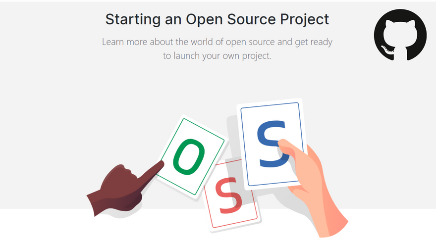 Cover image for Github's guide on starting an open source project, created by Estee