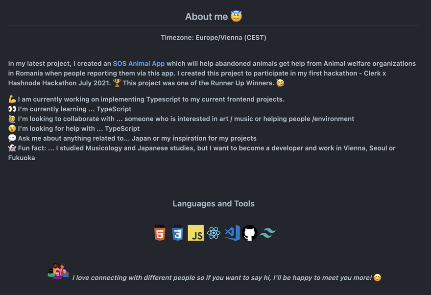 README Section About Me