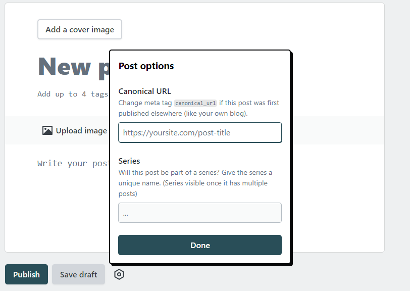 Version 2 editor for forem with the settings cog opened showing a spot for canonical url