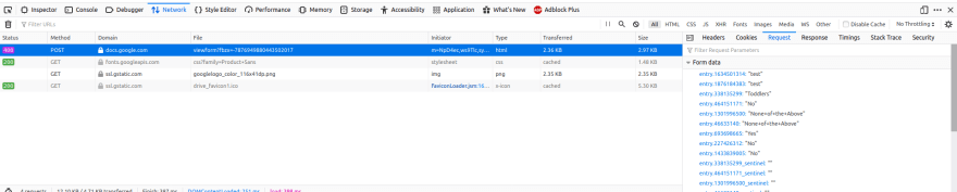 screenshot of the Network tab in the dev tools showing the above