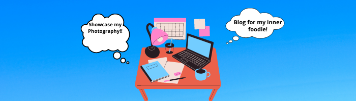 A banner showcasing a person desk with thought bubbles on relevant project ideas