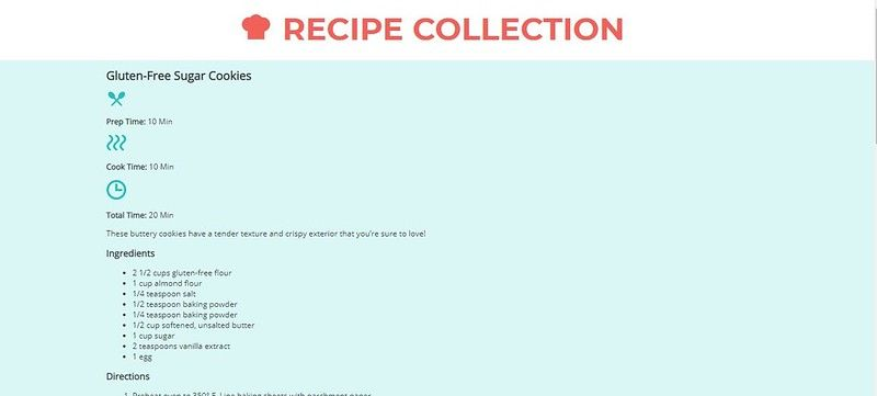Recipe card website with blue background and icons on the page
