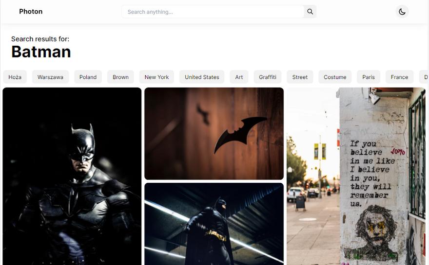 Photon search page