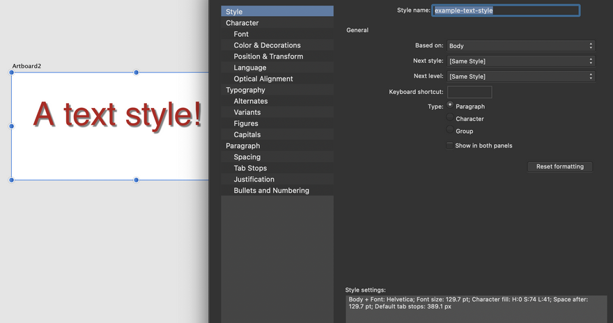 A screenshot shows the 'text styles' pane from Affinity Designer