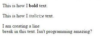 This is how I bold text. This is how I italicize text. I am creating a line break in this text. Isn't programming amazing?
