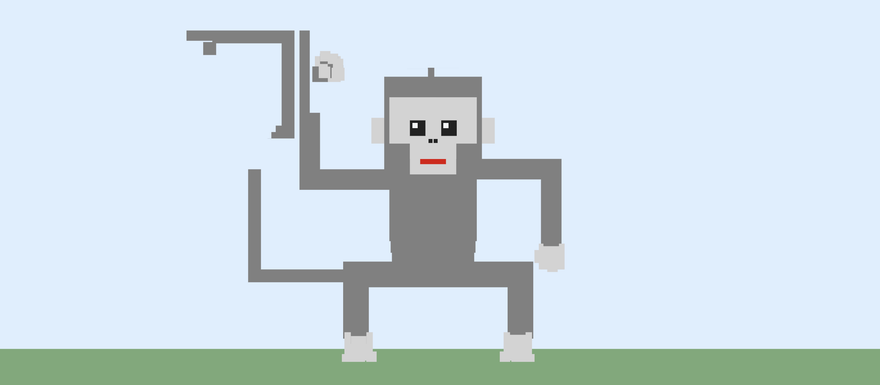 Screenshot of a squared monkey, some parts are not connected correctly