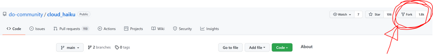 The red circle and arrow indicates where the fork button is on DigitalOcean's Cloud Haiku repo
