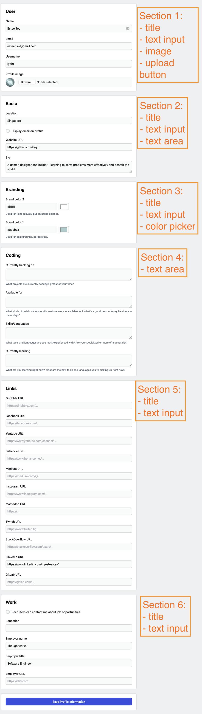 Codenewbie profile settings form