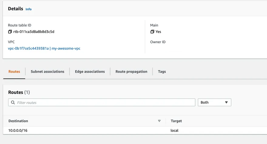 aws console add route table