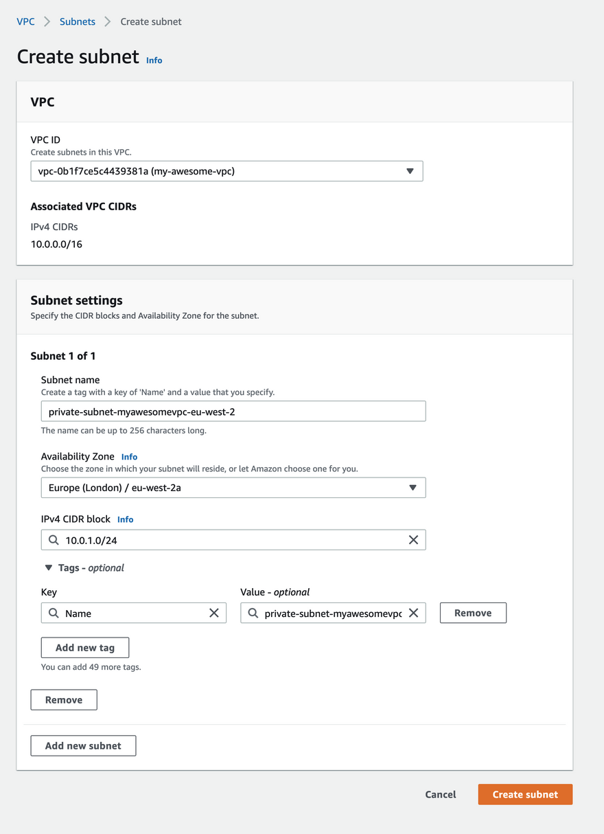 aws private subnet aws console