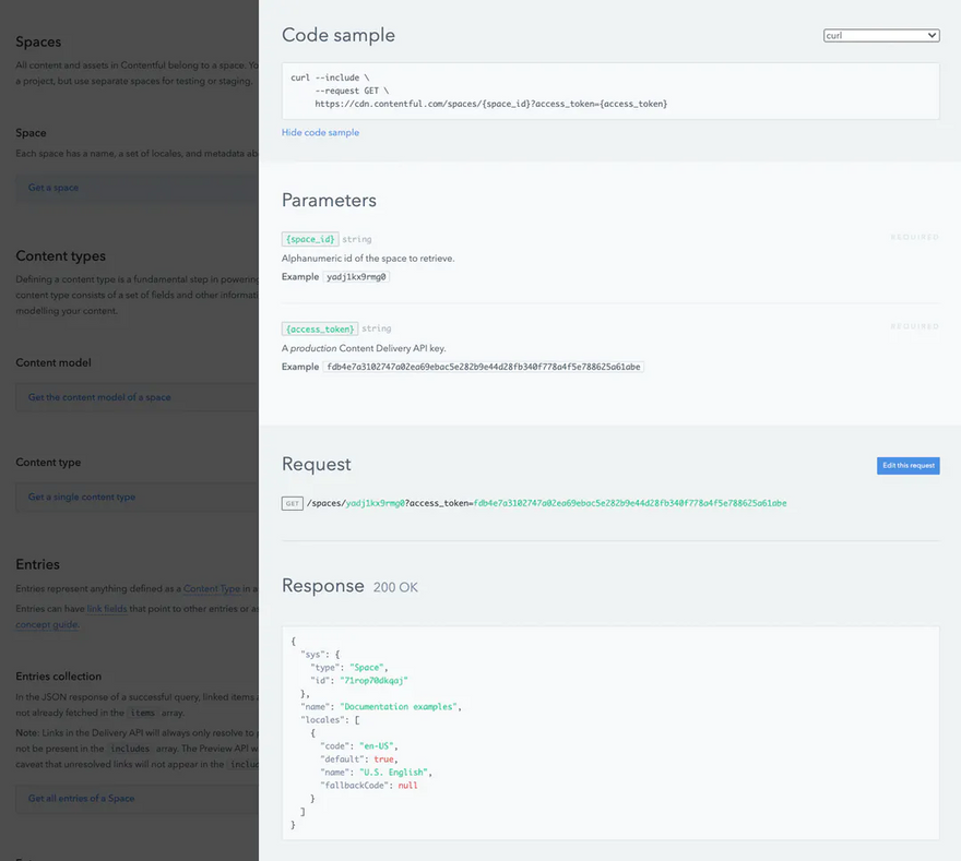 A screenshot of the Contentful documentation, showing the code sample for a space GET request, the parameters required for the request, and a sample response.