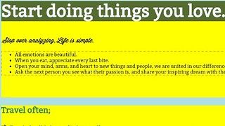 Start doing things you love.
